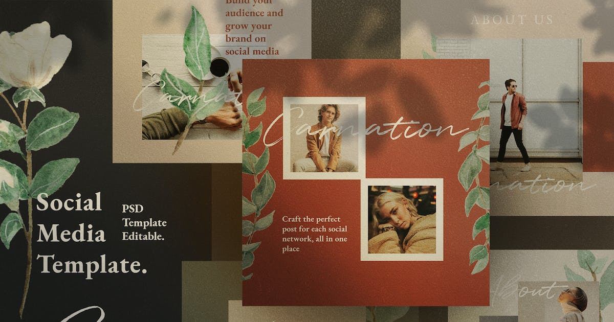 Download Carnation - Social Media Template + Stories by dirtylinestudio