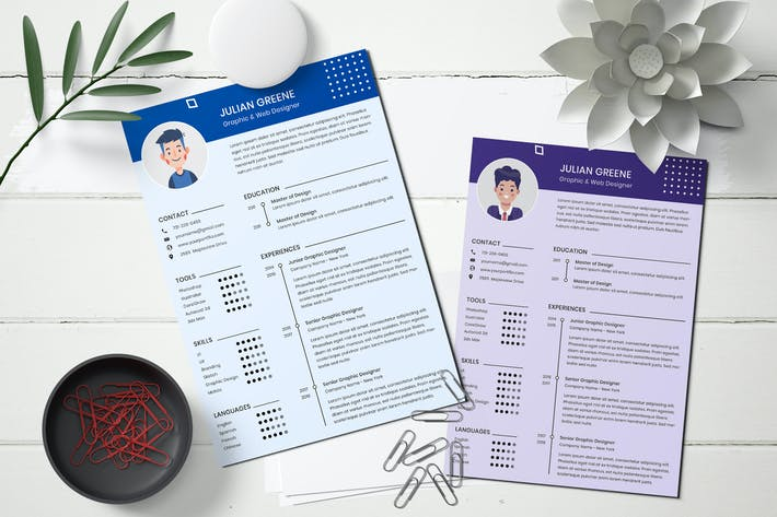 Thumbnail for Professional resume design template