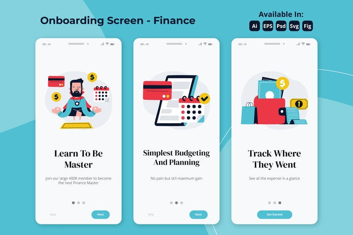 Thumbnail for Financial guru onboarding screens