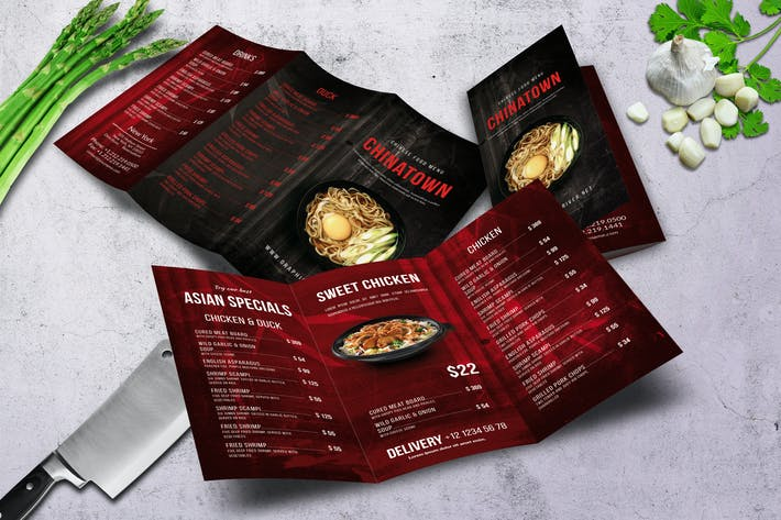 Thumbnail for Chinese Trifold Food Menu V3