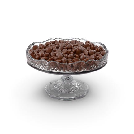Fancy Crystal Bowl with Almond Chocolate Candy