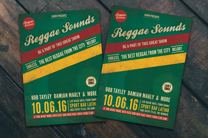 Cover Image For Reggae Sounds Flyer Poster