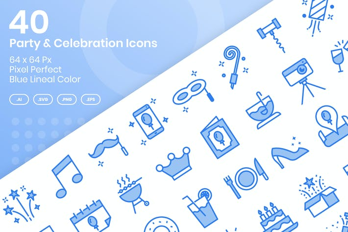 Thumbnail for 40 Party & Celebration Icons - Blue Lineal Color