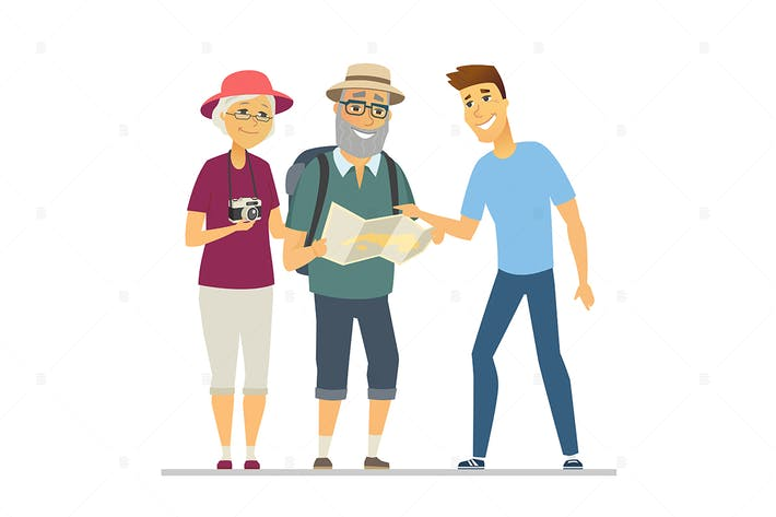 Senior tourists the way -  flat illustration
