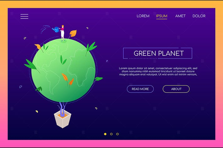 Thumbnail for Green planet - colorful isometric web banner