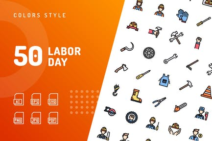 Labor Day Color Icons