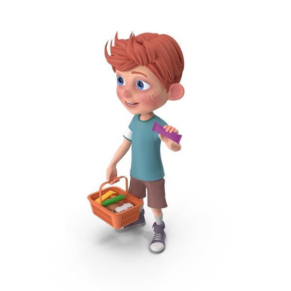Thumbnail for Cartoon Boy Charlie Holding Shopping Basket