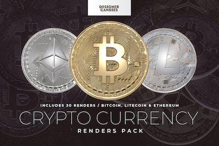 Cryptocurrency Renders: Bitcoin Litecoin Ethereum