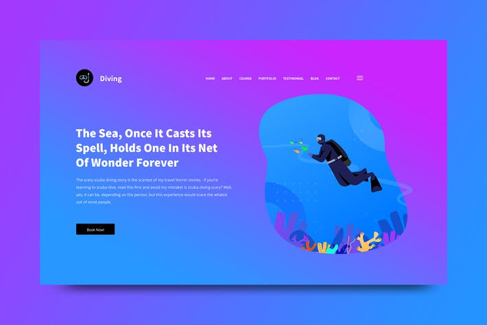 Thumbnail for Diving Web Header PSD and Vector Template