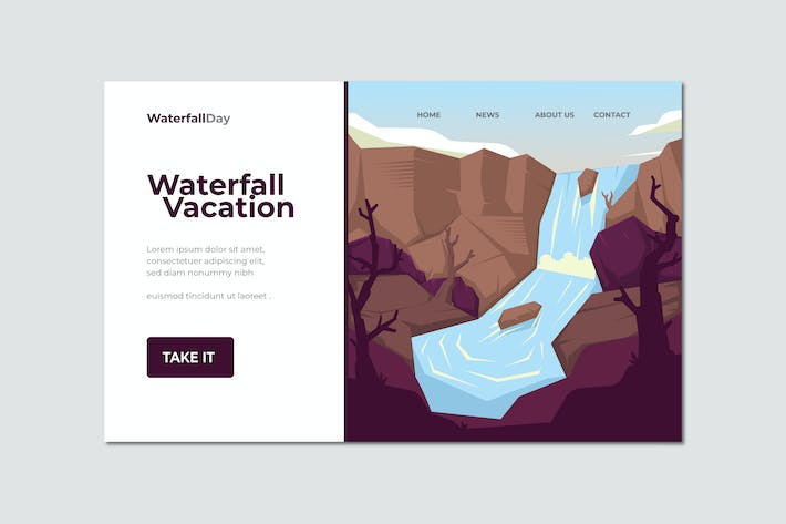 Cover Image For Waterfall Vacation Landing Page Illustration