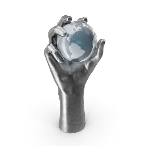Silver Hand Holding a Crystal Earth