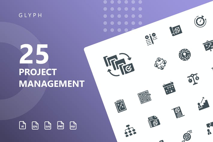 Thumbnail for Project Management Glyph Icons