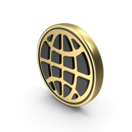 Globus mit Meridianen Münze Logo Symbol