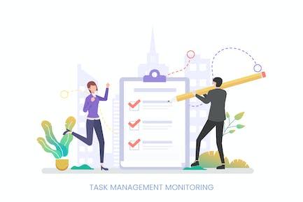 Task Management Monitoring Vector Illustration
