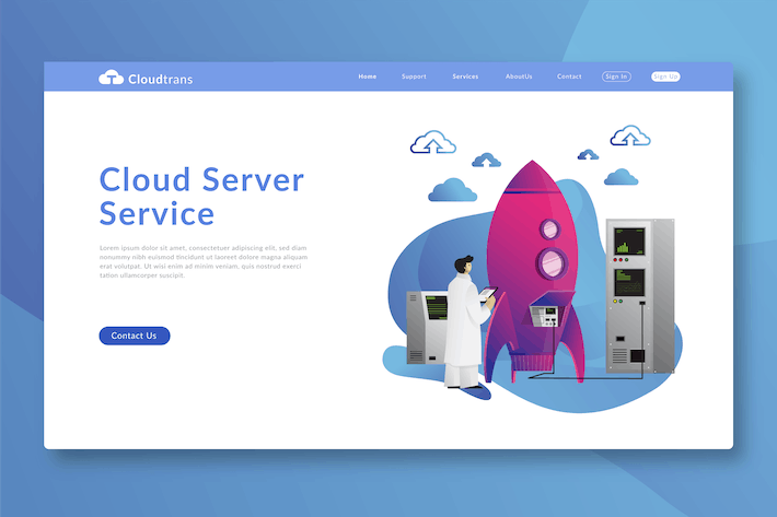 Thumbnail for Cloud Service - banner & Landing Page Template