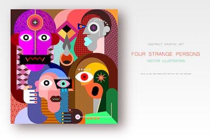 Четыре странных лица Вектор рисунок