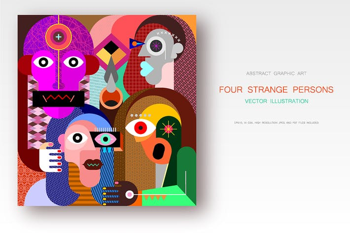 Cover Image For Four Strange Persons Vector Artwork
