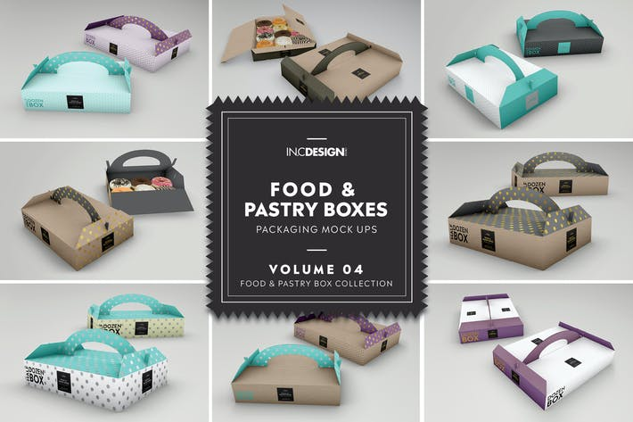 Thumbnail for Food Pastry Boxes Vol.4: Packaging Mockups