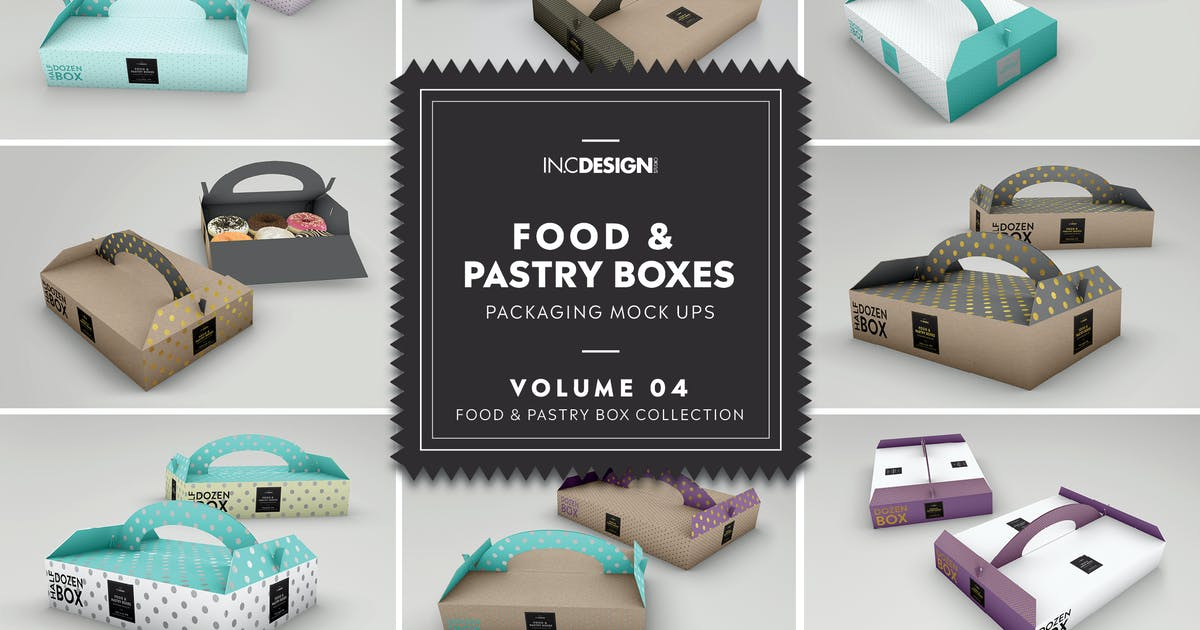 Download Food Pastry Boxes Vol.4: Packaging Mockups by ina717