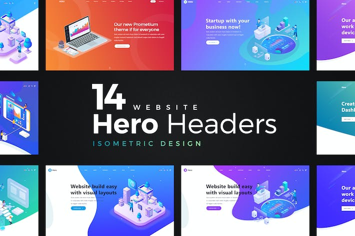 Thumbnail for 14 Isometric Hero Headers