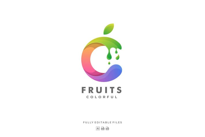 Fruit form Letter Colorful Logo