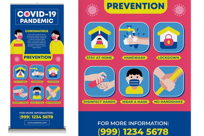 Thumbnail for Covid-19 Prevention Roll Up Banner