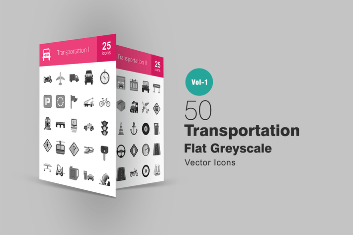 Cover Image For 50 Transportation Greyscale Icons