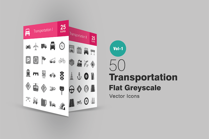 Thumbnail for 50 Transportation Greyscale Icons