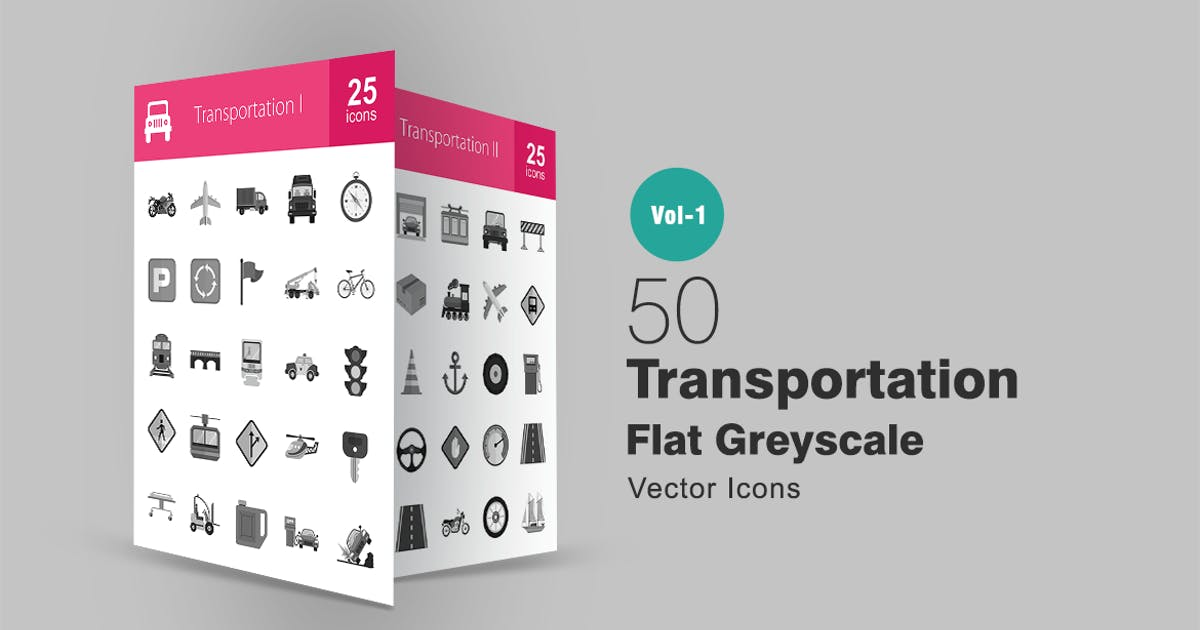 Download 50 Transportation Greyscale Icons by IconBunny