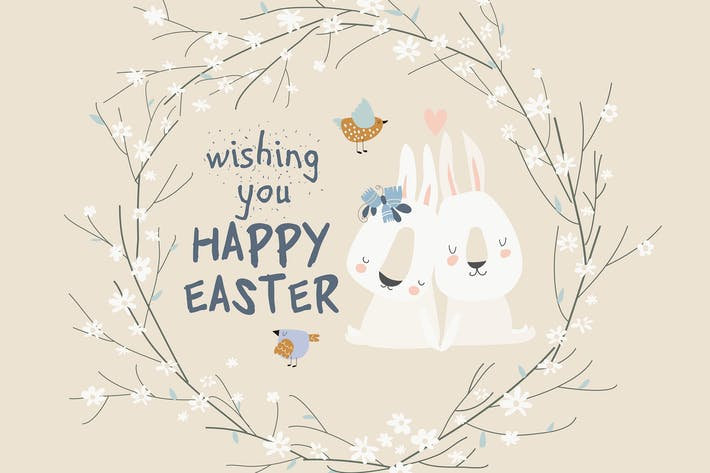 Cute cartoon bunny with Easter eggs and flowers.