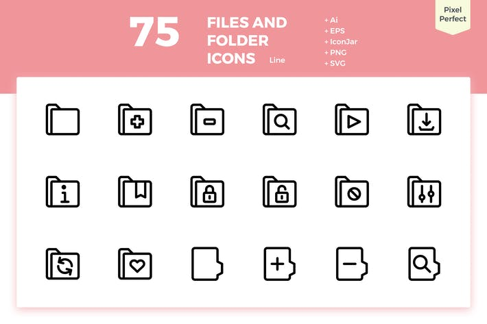 Thumbnail for 75 Files and Folder Icons (Line)