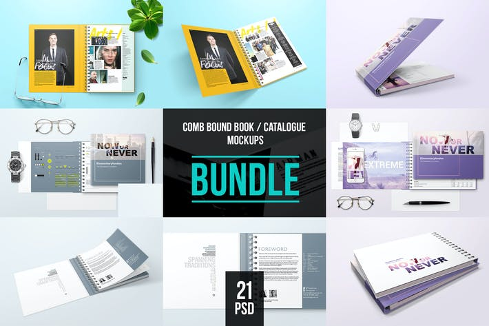 Thumbnail for Spiral Bound Book With Folder Cover Bundle Mockup