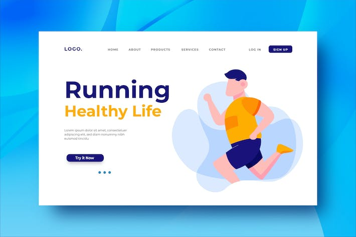 Thumbnail for Running Healthy Life Landing Page Illustration
