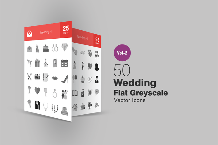 50 Wedding Flat Greyscale Icons