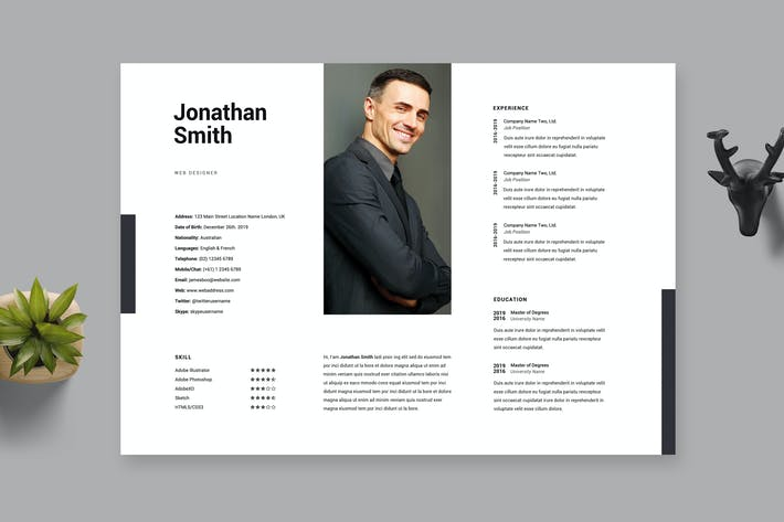 Clean Minimal Resume / Cv Template 29