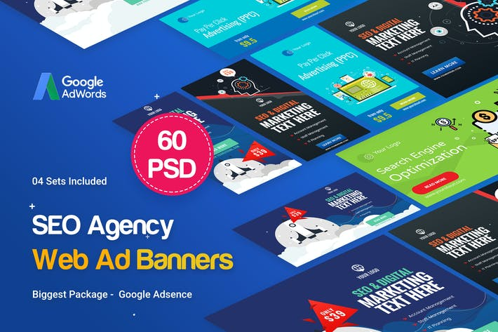 Thumbnail for SEO, Marketing Agency Banners Ad - 04 Sets
