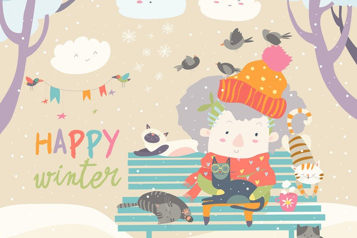 Thumbnail for Cute old woman with kitten and bird in winter park