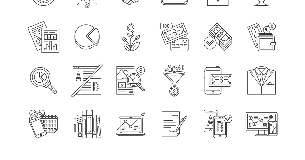 Download 34 Business, Marketing & Finance Line Icons by polshindanil