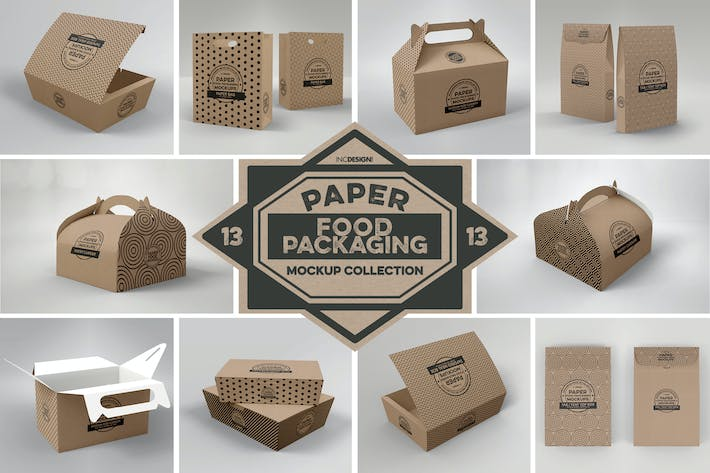 Thumbnail for Paper Food Box Packaging Mockups Vol. 13