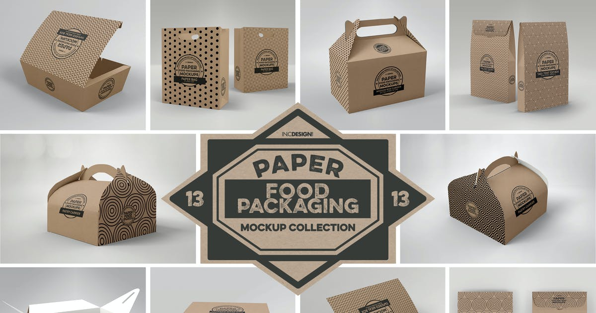 Download Paper Food Box Packaging Mockups Vol. 13 by ina717