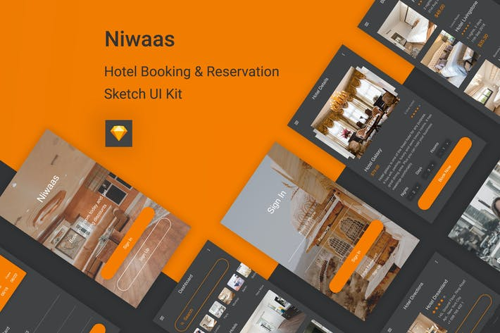 Thumbnail for Niwaas - Hotel Booking & Reservation Sketch UI Kit