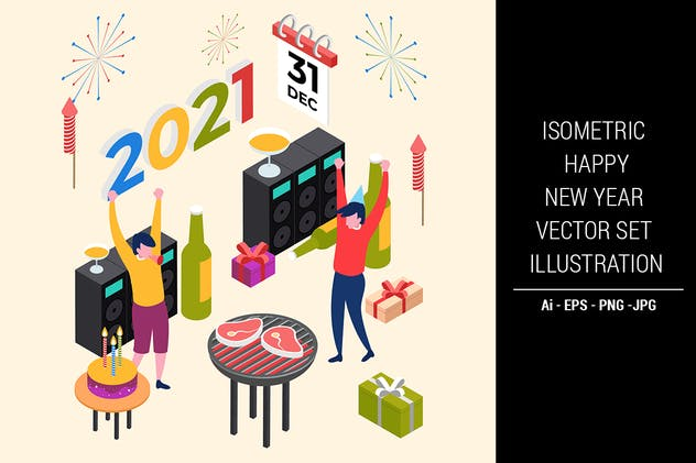 Isometric Happy New Year Vector Set Illustration