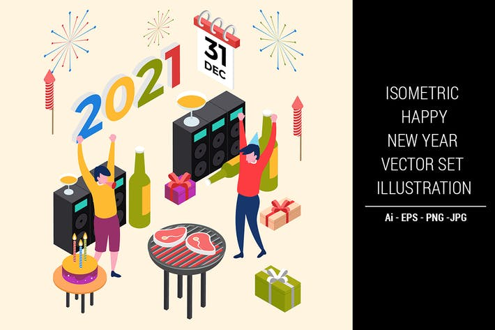 Thumbnail for Isometric Happy New Year Vector Set Illustration