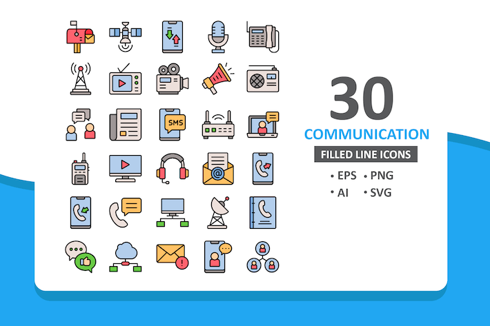 Thumbnail for 30 Communication Icons - Filled Line