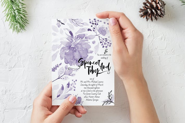 Thumbnail for Purple handprinted Wedding Invitation Card