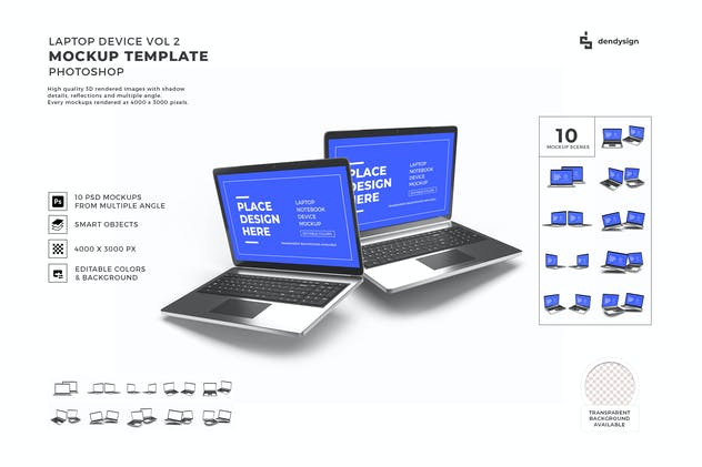 Laptop Device Mockup Template Set Vol 2