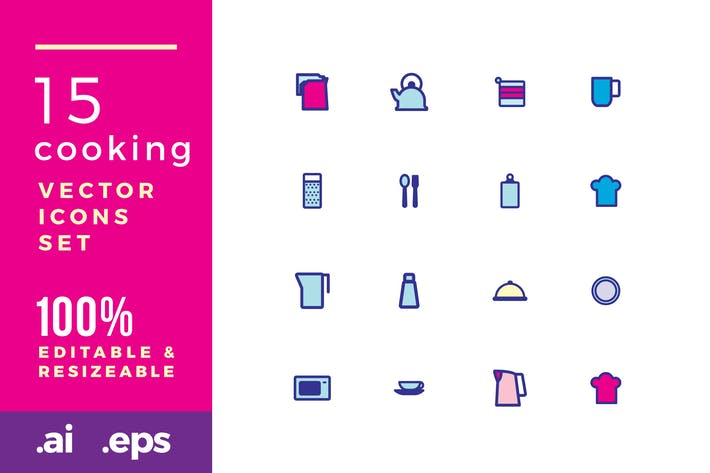 Thumbnail for 15 Cooking vector icons
