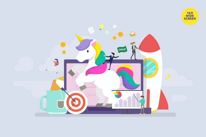Thumbnail for Unicorn Business Startup Vector Concept