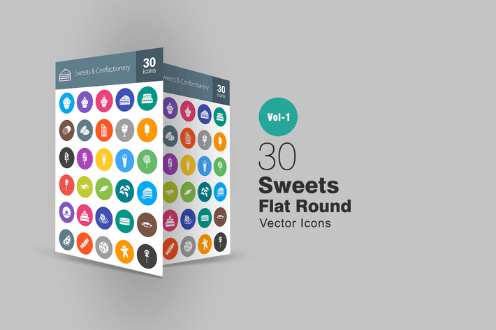 Thumbnail for 30 Sweets & Confectionery Flat Round Icons
