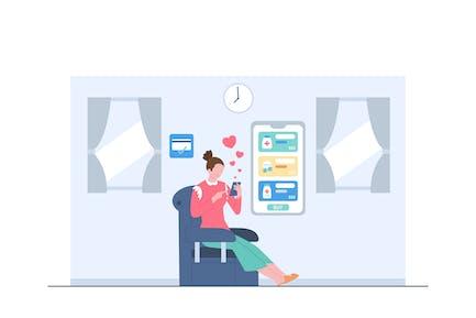 Online Purchased Medicine Illustration